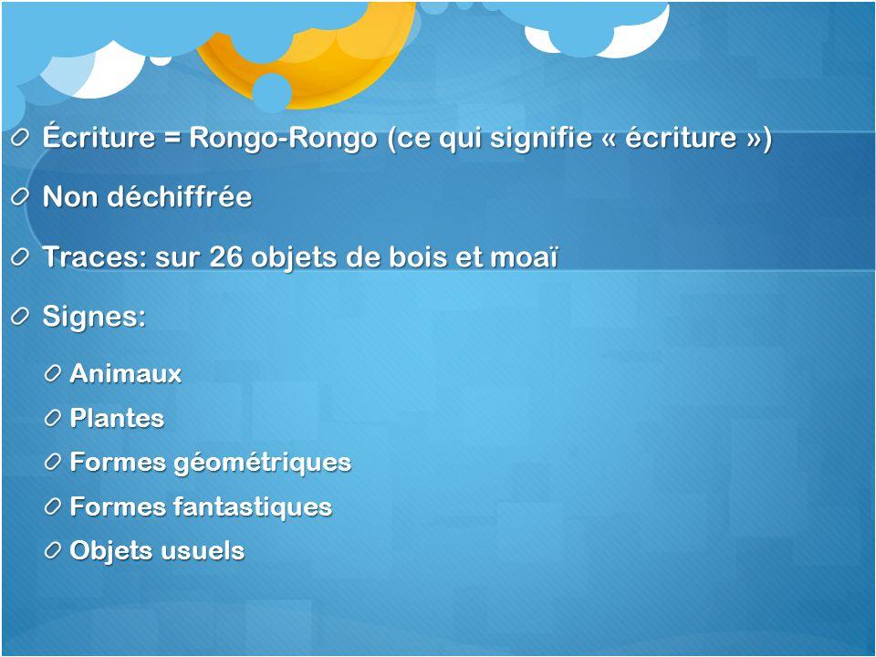 Écriture = Rongo-Rongo (ce qui signifie « écriture ») Non déchiffrée
