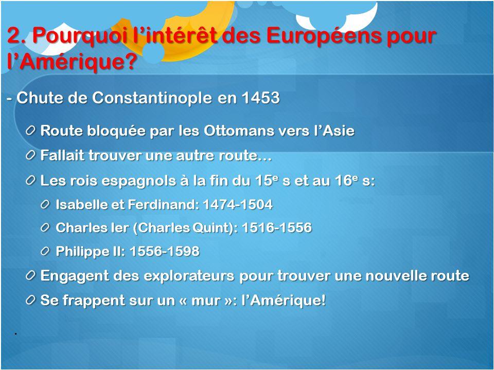 2. Pourquoi l'intérêt des Européens pour l'Amérique