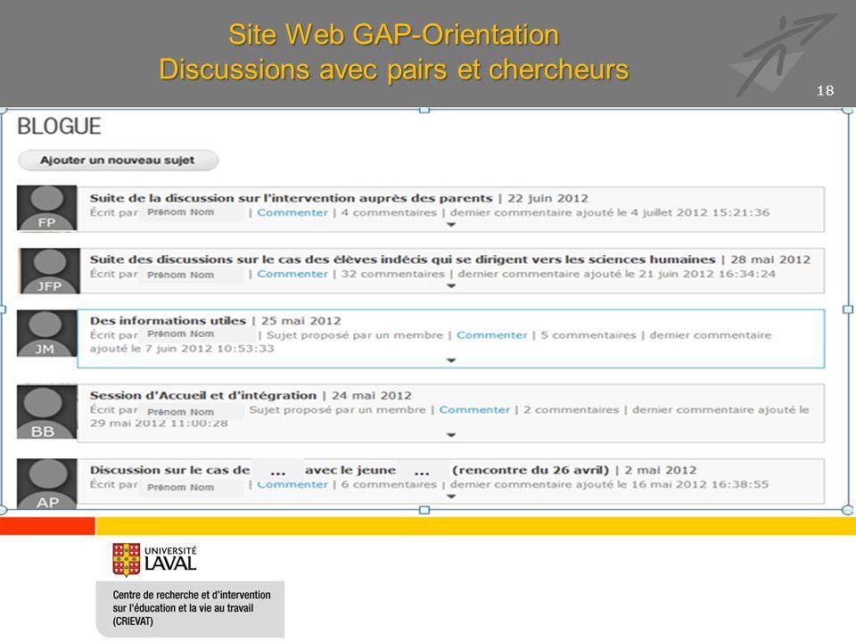 Site Web GAP-Orientation Discussions avec pairs et chercheurs