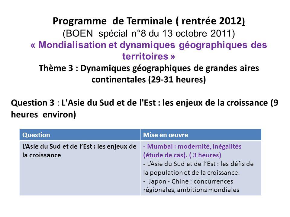 Programme de Terminale ( rentrée 2012)