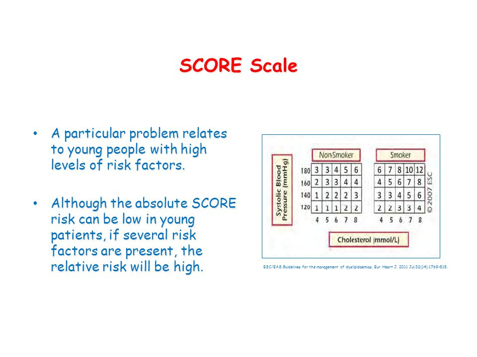 SCORE Scale A particular problem relates to young people with high levels of risk factors.