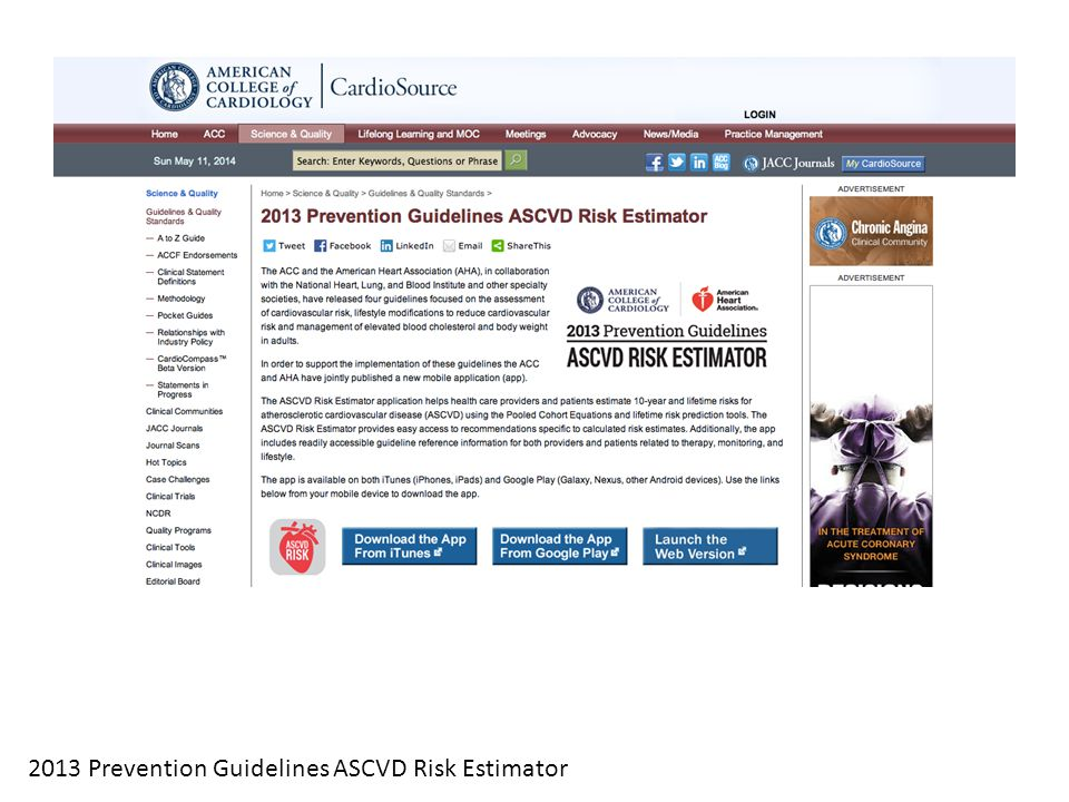 2013 Prevention Guidelines ASCVD Risk Estimator