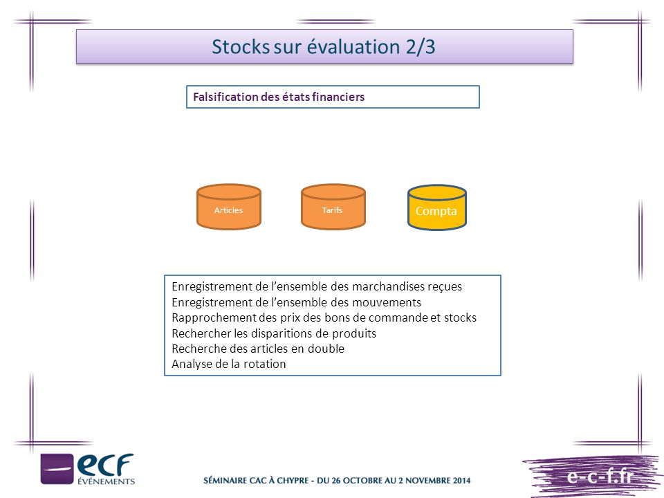 Stocks sur évaluation 2/3
