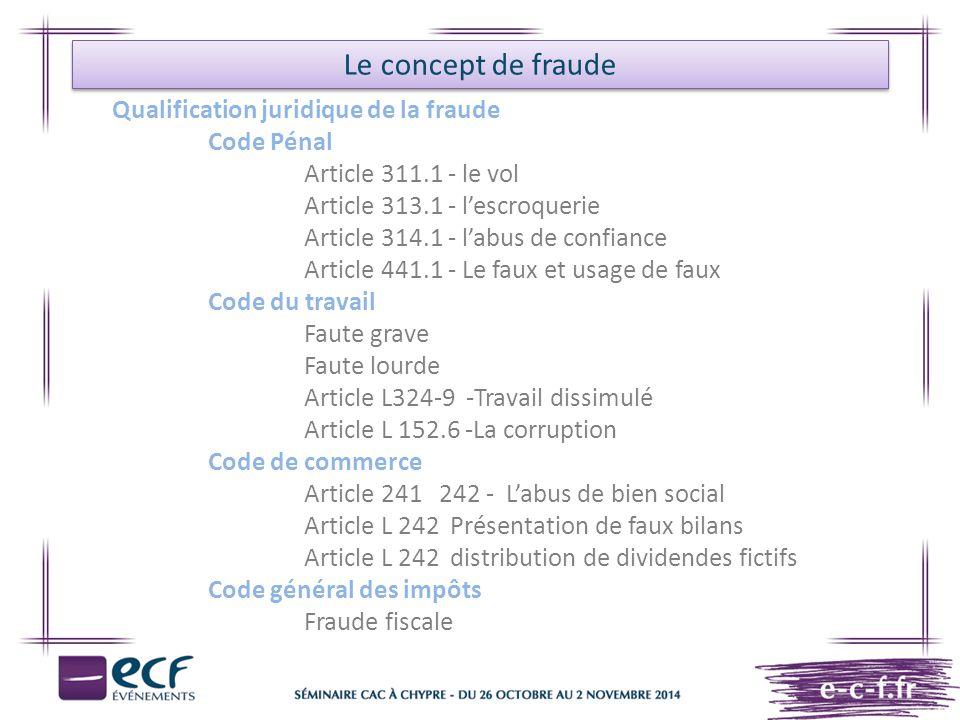Le concept de fraude Qualification juridique de la fraude Code Pénal