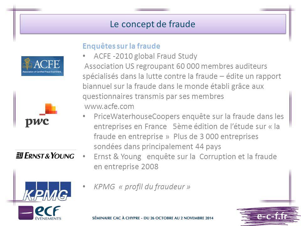 Le concept de fraude Enquêtes sur la fraude