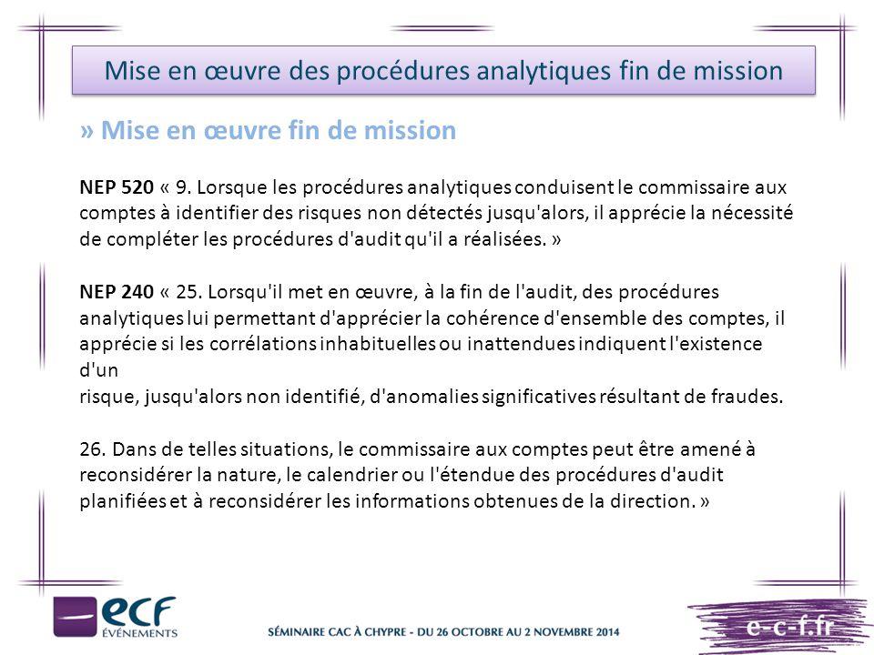 Mise en œuvre des procédures analytiques fin de mission
