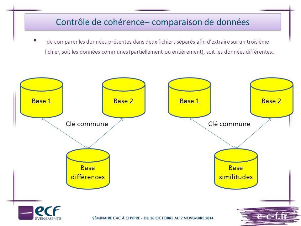 Contrôle de cohérence– comparaison de données