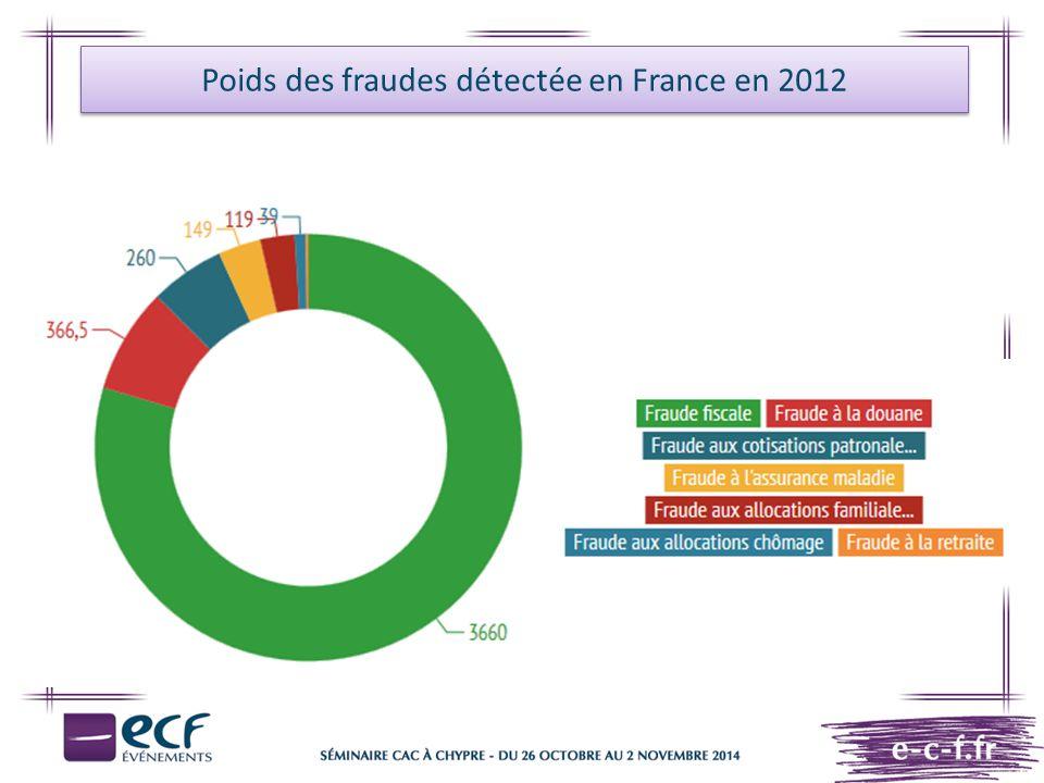 Poids des fraudes détectée en France en 2012