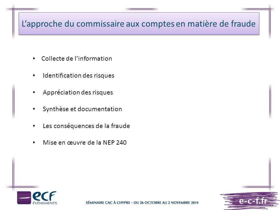 L'approche du commissaire aux comptes en matière de fraude