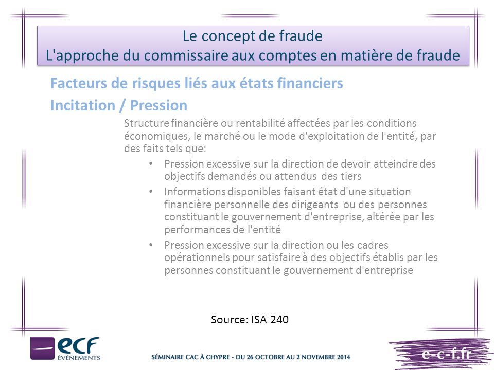 Facteurs de risques liés aux états financiers Incitation / Pression