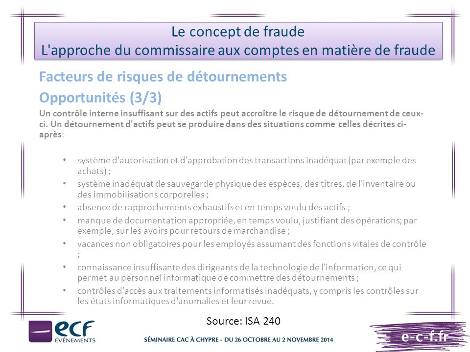 Le concept de fraude L approche du commissaire aux comptes en matière de fraude