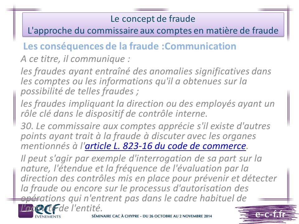 Les conséquences de la fraude :Communication
