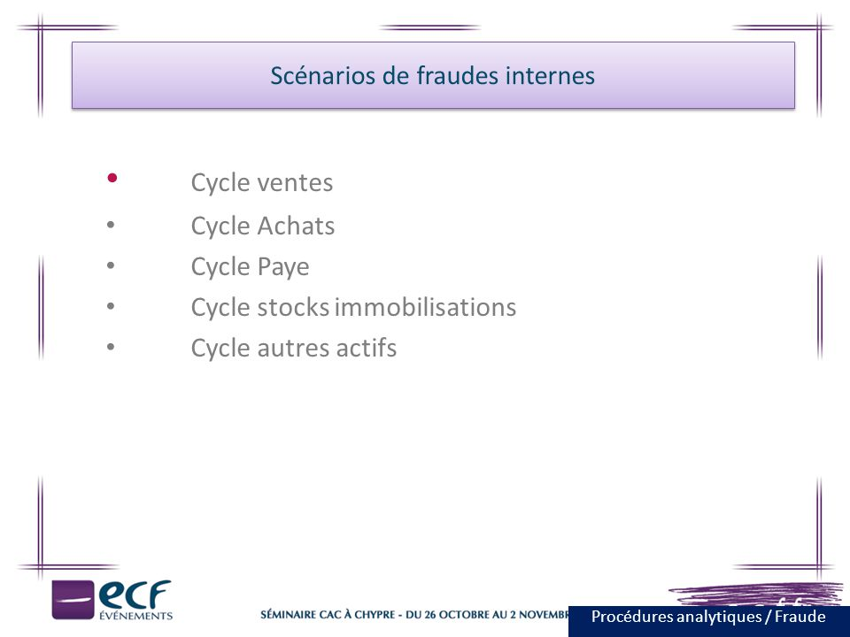 Cycle ventes Cycle Achats Cycle Paye Cycle stocks immobilisations