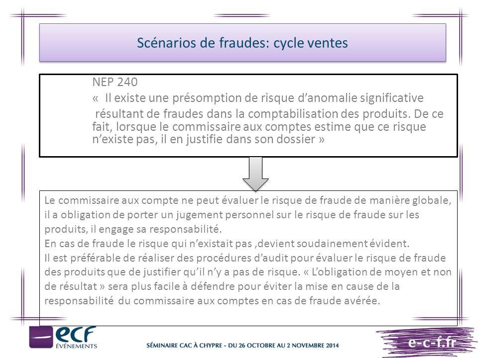 Scénarios de fraudes: cycle ventes