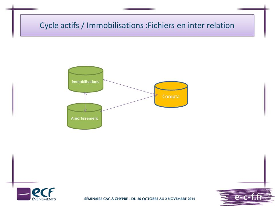 Cycle actifs / Immobilisations :Fichiers en inter relation