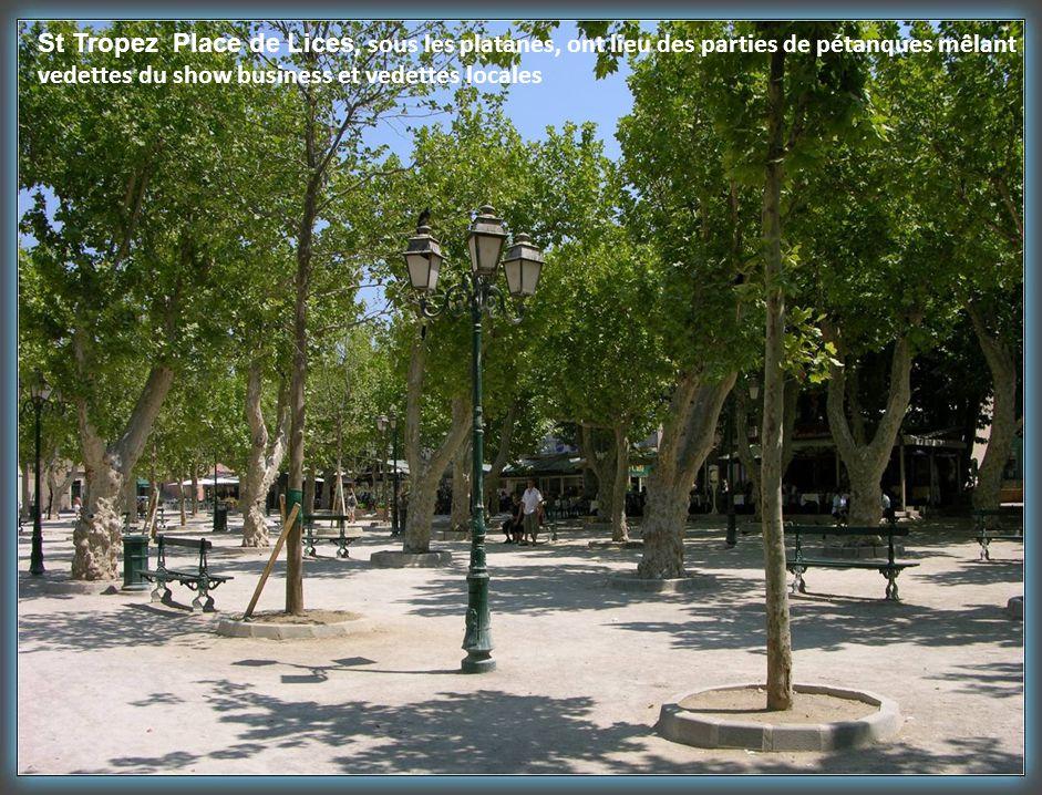 St Tropez Place de Lices, sous les platanes, ont lieu des parties de pétanques mêlant vedettes du show business et vedettes locales