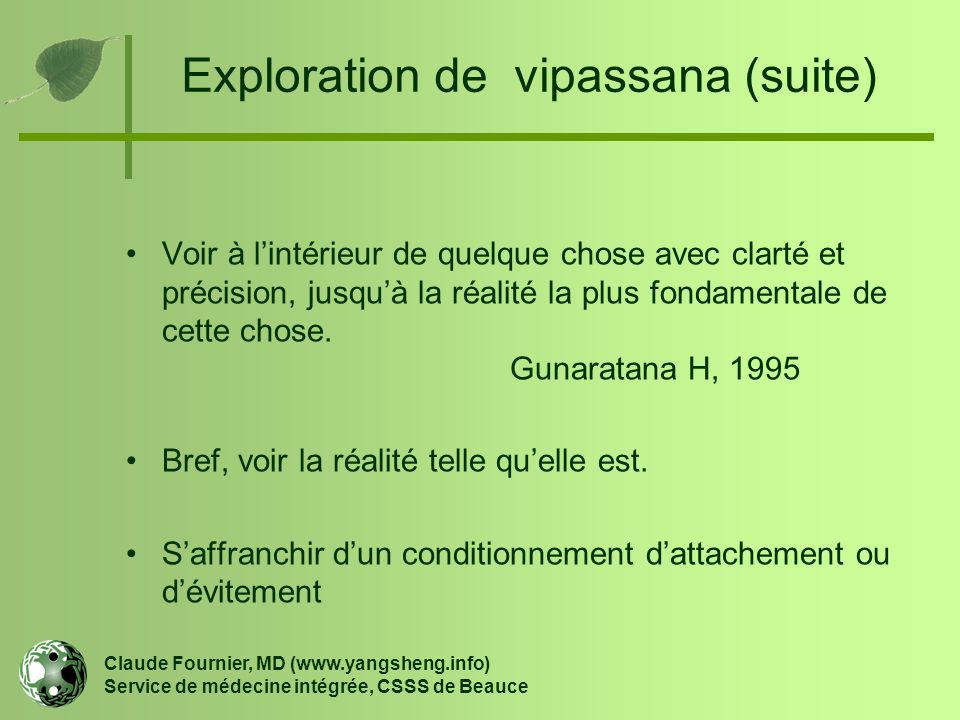 Exploration de vipassana (suite)