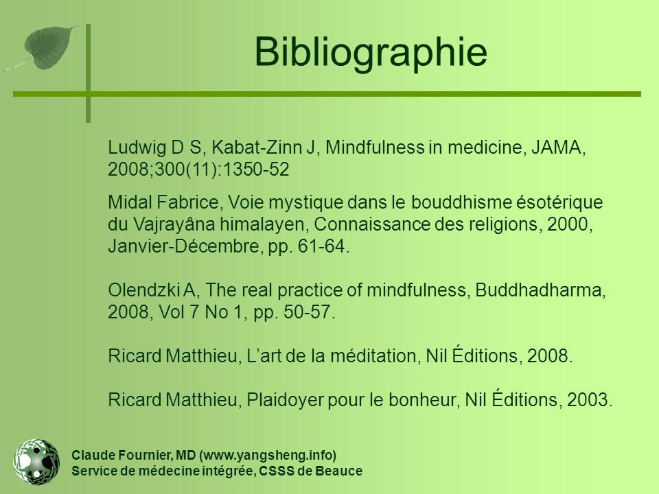 Bibliographie Ludwig D S, Kabat-Zinn J, Mindfulness in medicine, JAMA, 2008;300(11):1350-52.