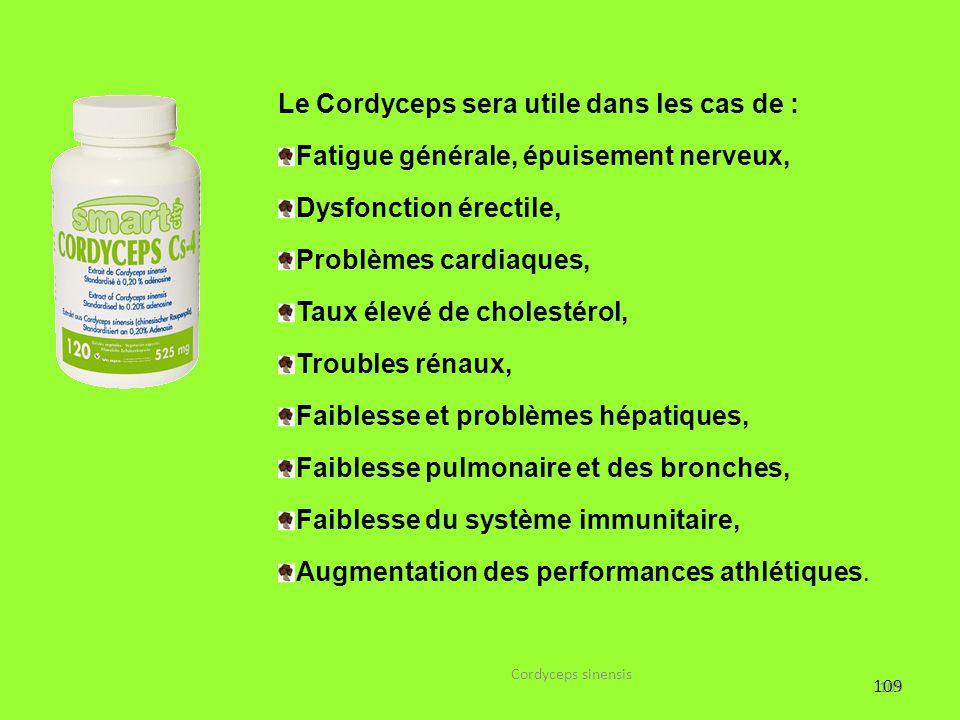Le Cordyceps sera utile dans les cas de :