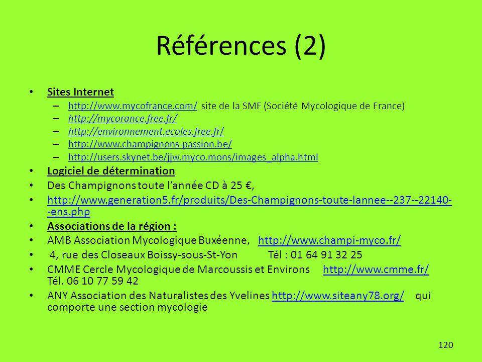 Références (2) Sites Internet Logiciel de détermination