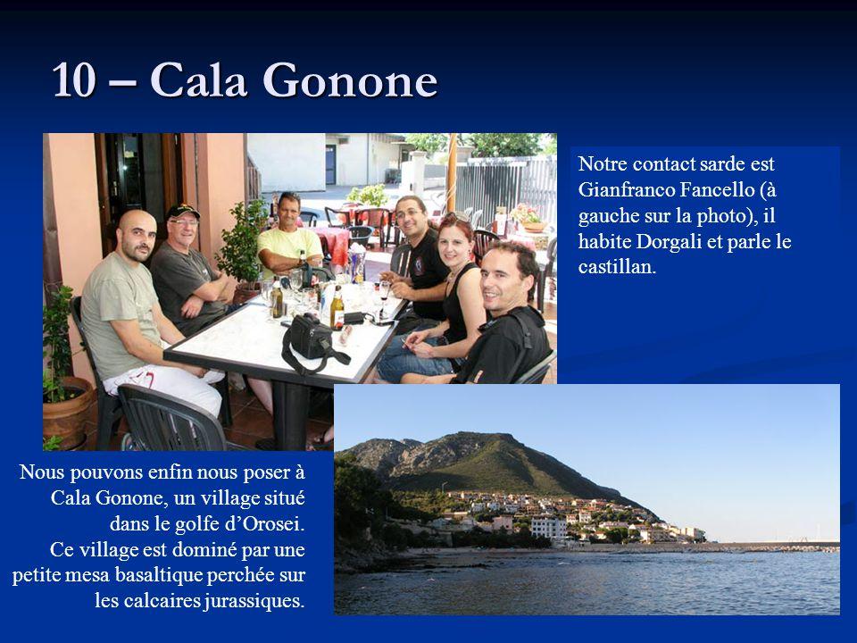 10 – Cala Gonone Notre contact sarde est Gianfranco Fancello (à gauche sur la photo), il habite Dorgali et parle le castillan.