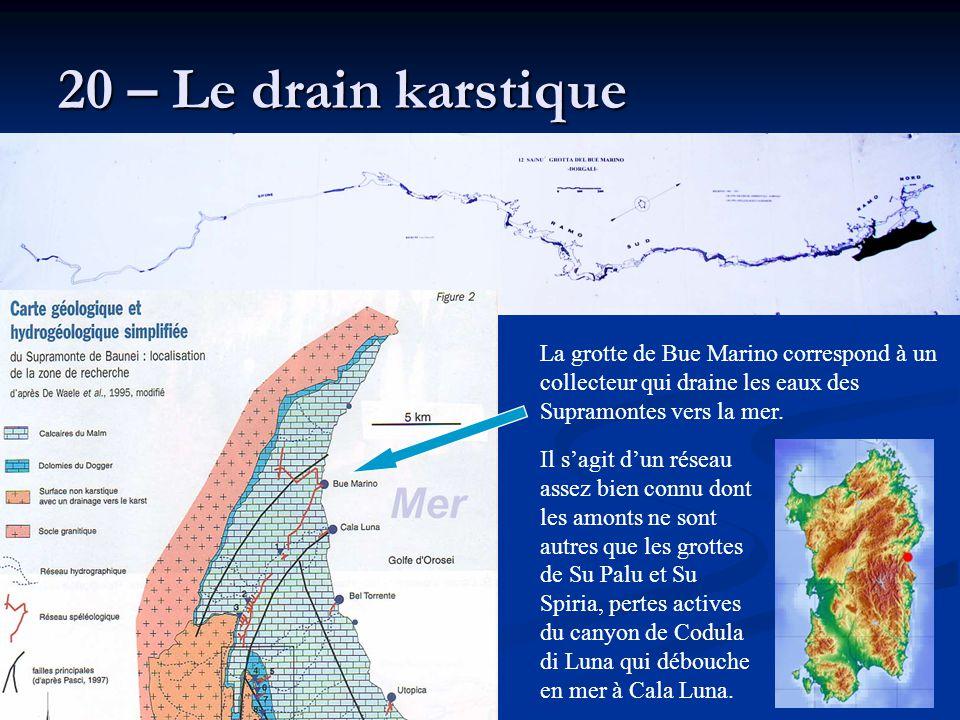 20 – Le drain karstique La grotte de Bue Marino correspond à un collecteur qui draine les eaux des Supramontes vers la mer.