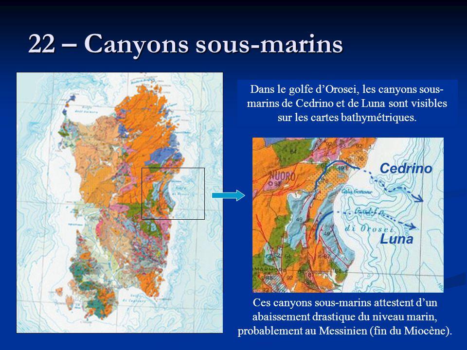 22 – Canyons sous-marins Dans le golfe d'Orosei, les canyons sous-marins de Cedrino et de Luna sont visibles sur les cartes bathymétriques.