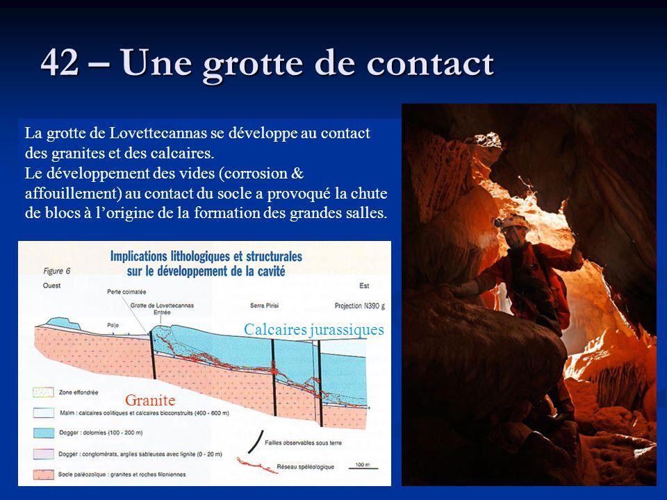 42 – Une grotte de contact La grotte de Lovettecannas se développe au contact des granites et des calcaires.