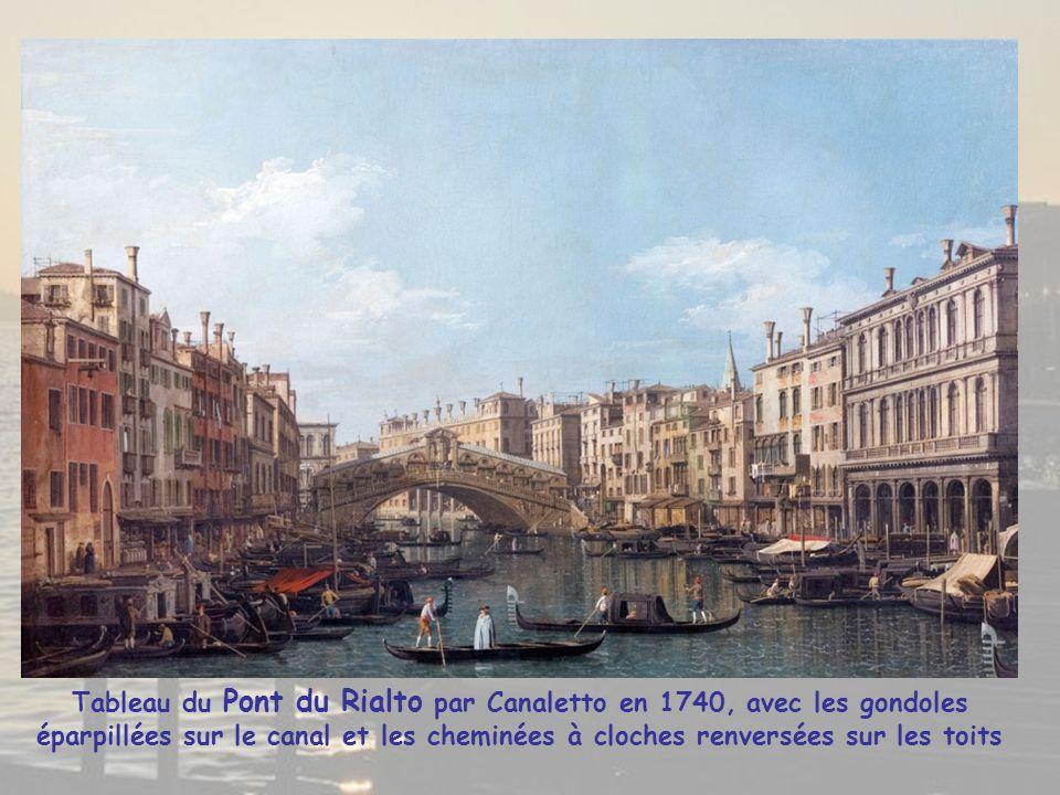Tableau du Pont du Rialto par Canaletto en 1740, avec les gondoles éparpillées sur le canal et les cheminées à cloches renversées sur les toits