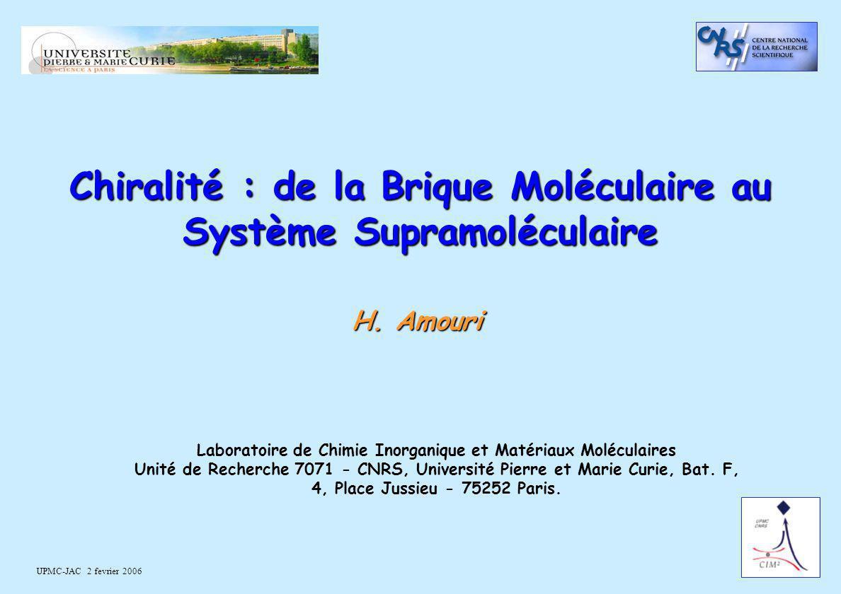 Chiralité : de la Brique Moléculaire au Système Supramoléculaire