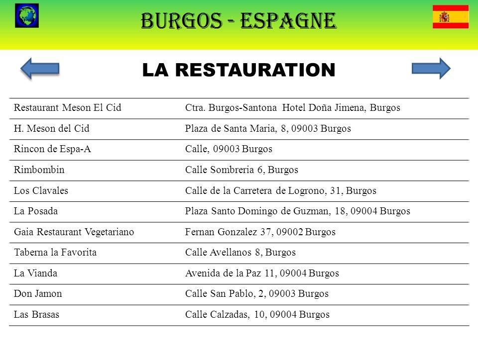 LA RESTAURATION Restaurant Meson El Cid