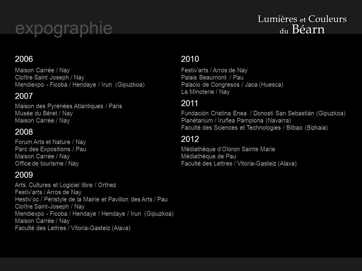 expographie Lumières et Couleurs 2006 2007 2008 2009 2010 2011 2012