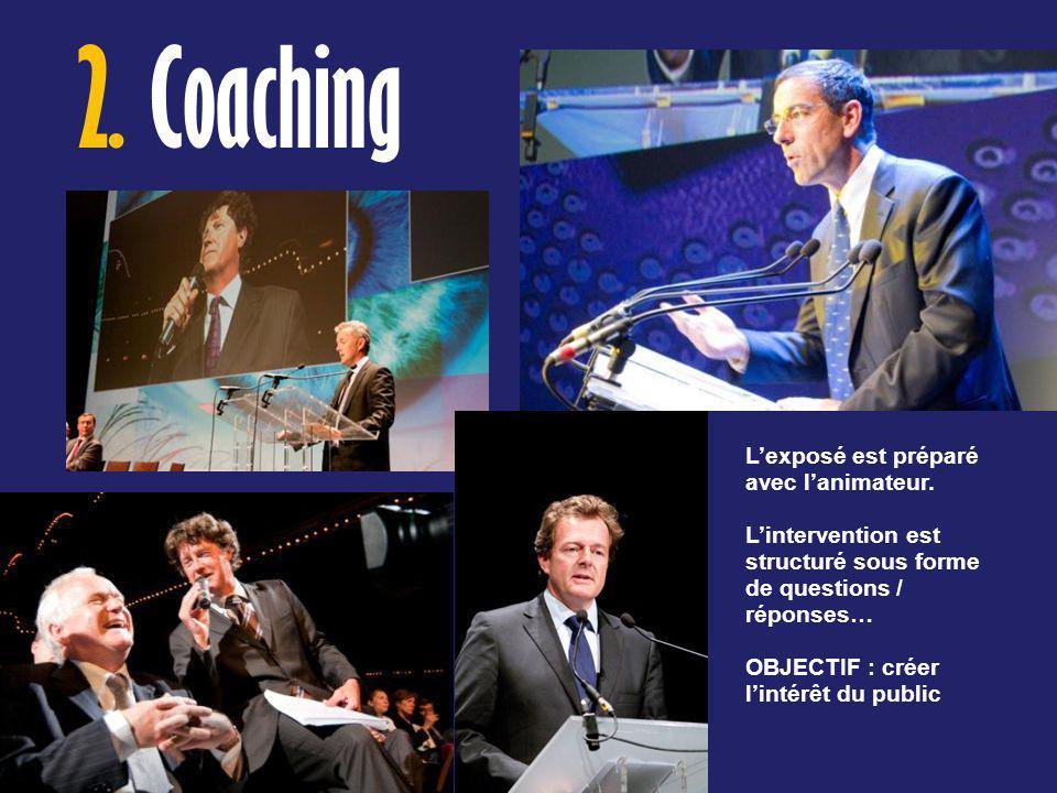 2. Coaching L'exposé est préparé avec l'animateur.