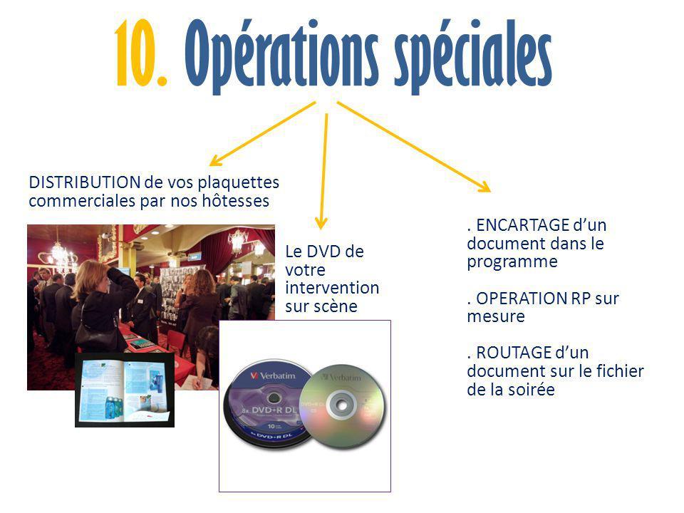 10. Opérations spéciales DISTRIBUTION de vos plaquettes commerciales par nos hôtesses. . ENCARTAGE d'un document dans le programme.