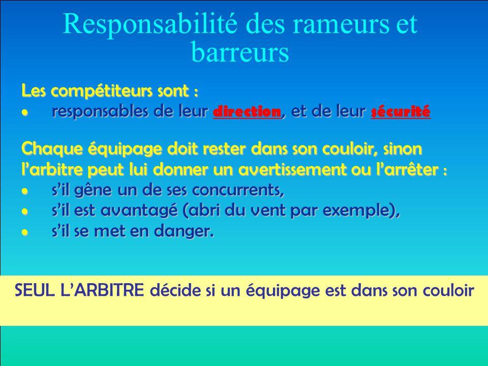 Responsabilité des rameurs et barreurs