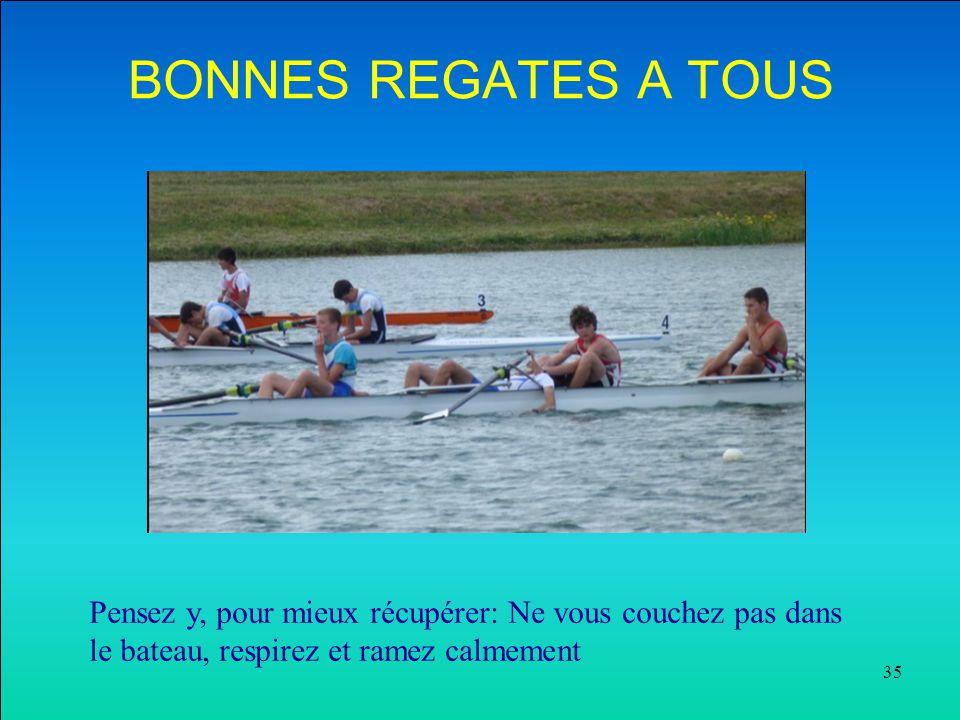 BONNES REGATES A TOUS Pensez y, pour mieux récupérer: Ne vous couchez pas dans le bateau, respirez et ramez calmement.