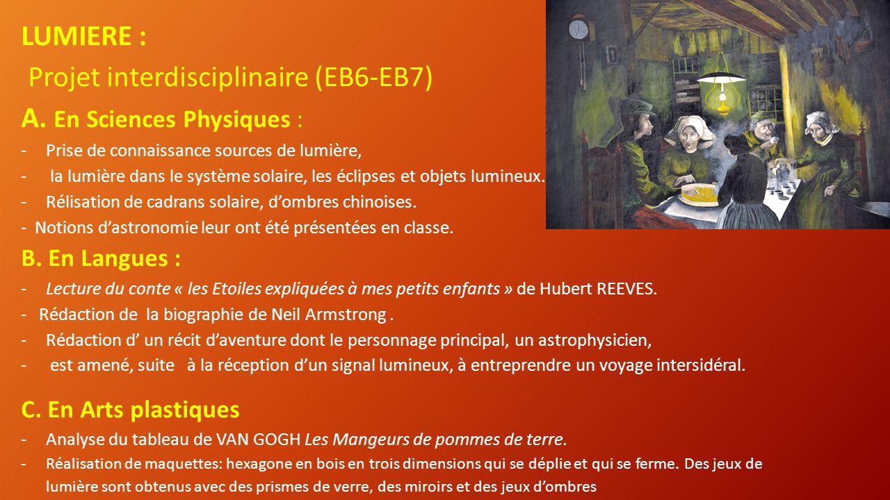 Projet interdisciplinaire (EB6-EB7) A. En Sciences Physiques :