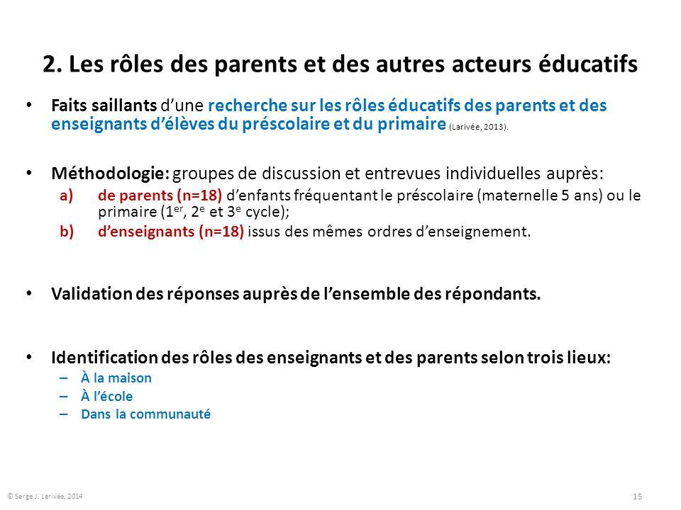 2. Les rôles des parents et des autres acteurs éducatifs