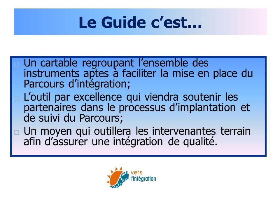 Le Guide c'est… Un cartable regroupant l'ensemble des instruments aptes à faciliter la mise en place du Parcours d'intégration;