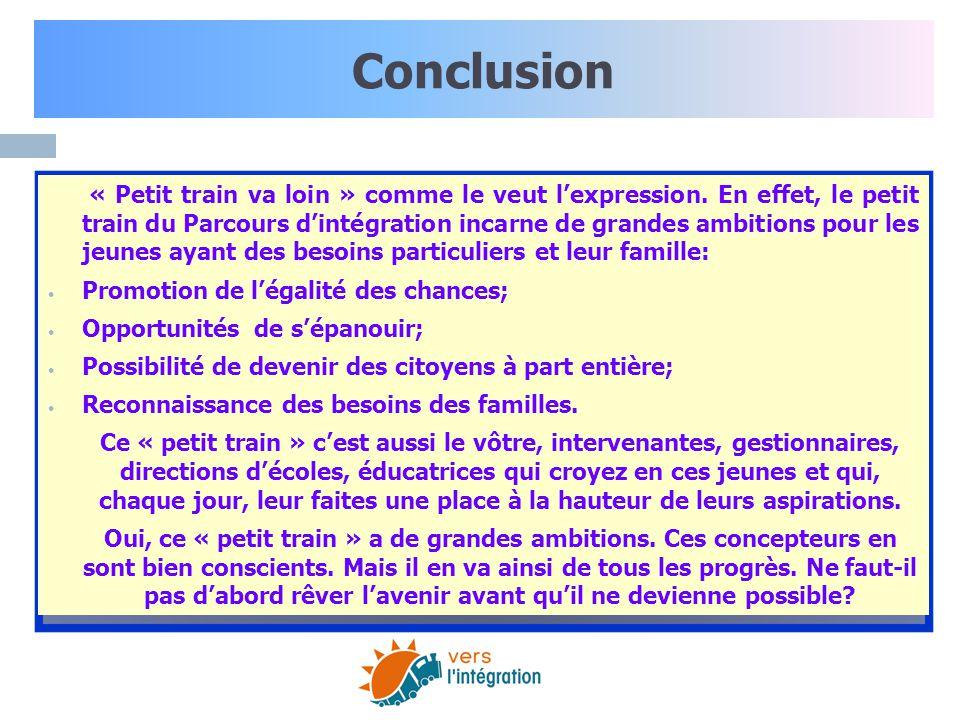Conclusion Promotion de l'égalité des chances;