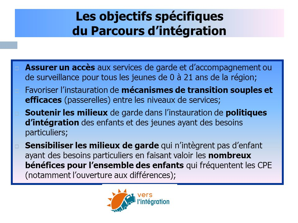Les objectifs spécifiques du Parcours d'intégration