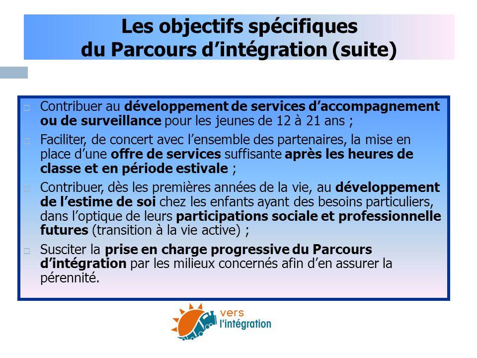 Les objectifs spécifiques du Parcours d'intégration (suite)