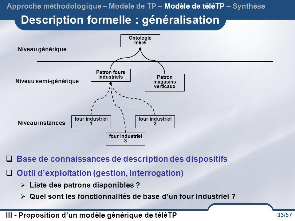 Description formelle : généralisation