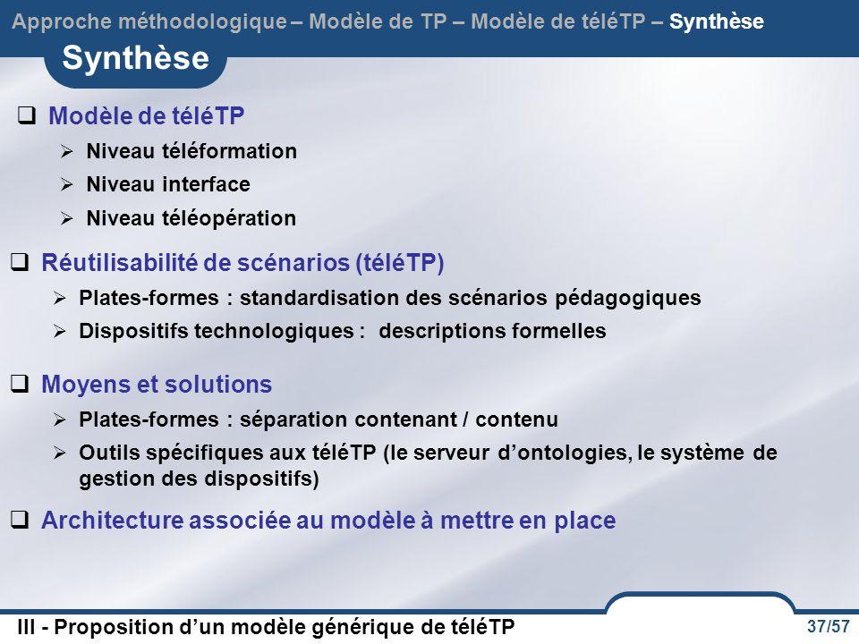 Synthèse Modèle de téléTP Réutilisabilité de scénarios (téléTP)