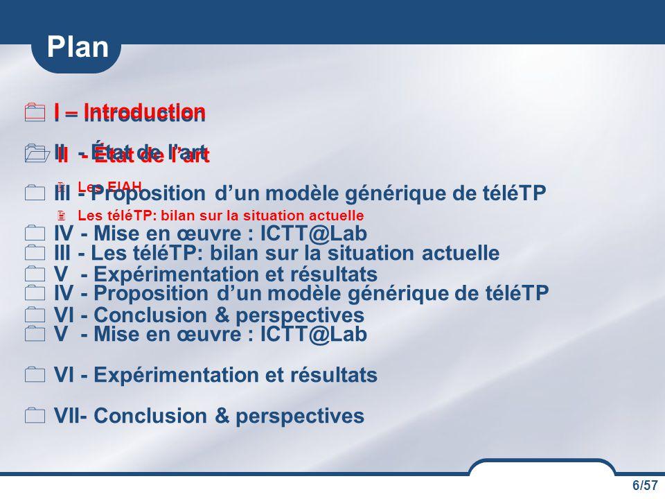 Plan I – Introduction I – Introduction II - État de l'art