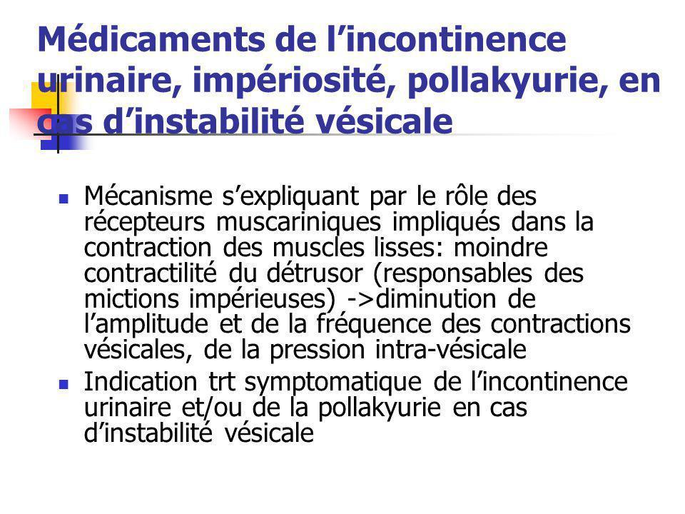Médicaments de l'incontinence urinaire, impériosité, pollakyurie, en cas d'instabilité vésicale
