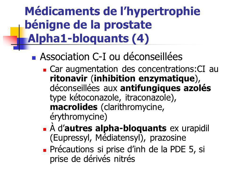 Médicaments de l'hypertrophie bénigne de la prostate Alpha1-bloquants (4)