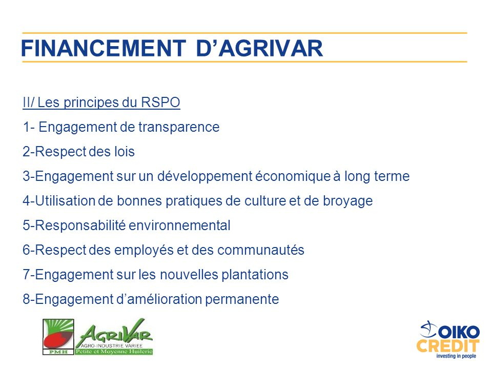 FINANCEMENT D'AGRIVAR
