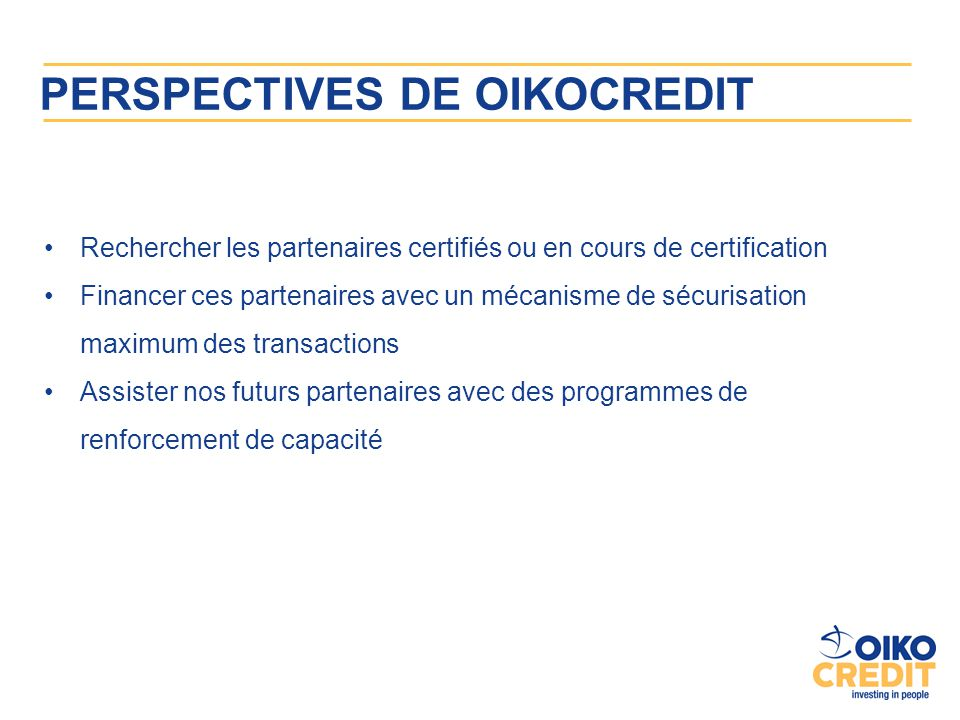 PERSPECTIVES DE OIKOCREDIT