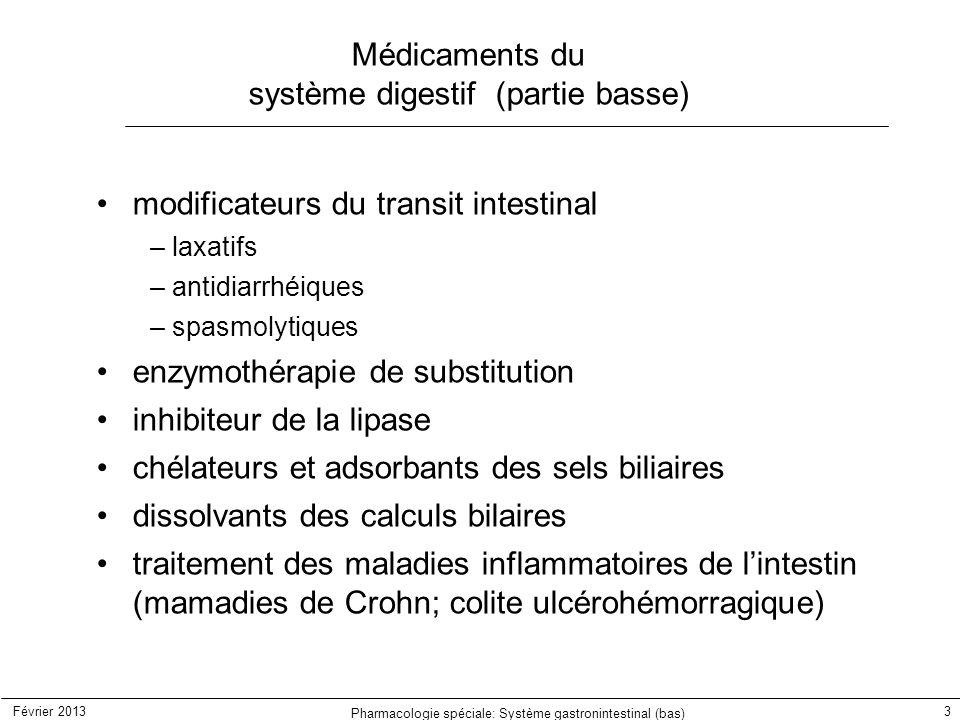 Médicaments du système digestif (partie basse)